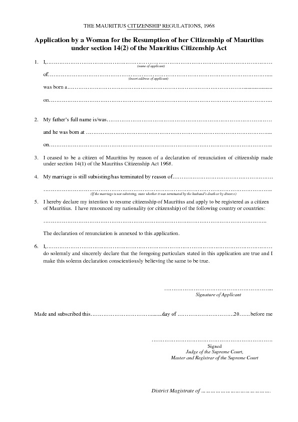 APPLICATION FOR RESUMPTION OF MAURITIAN CITIZENSHIP UNDER SECTION 14 ...